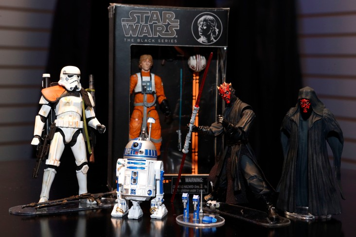 The new STAR WARS BLACK SERIES 6-inch action figures, featuring highly detailed collectible figures in a new scale, are displayed in Hasbro's showroom at the American International Toy Fair, Saturday, Feb. 9, 2013, in New York. (Photo by Jason DeCrow/Invision for Hasbro/AP Images) ** Usable by LA and DC Only **