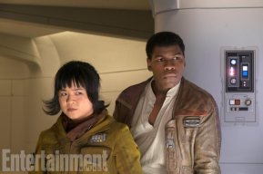 Star Wars: The Last Jedi L to R: Rose (Kelly Marie Tran) and Finn (John Boyega) Credit: David James/ILM/© 2017 Lucasfilm Ltd.